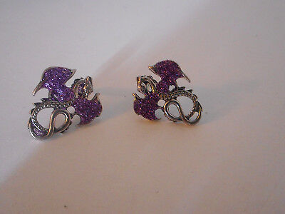 silver tone purple wing Dragon stud earrings with  gift bag