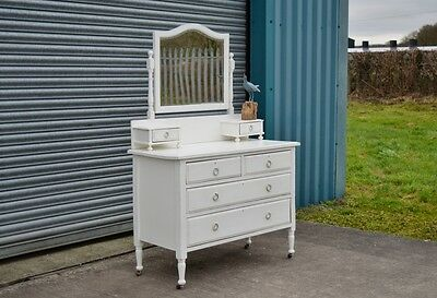 Antique Dressing Table Chest Of Drawers White Shabby Chic Distressed.