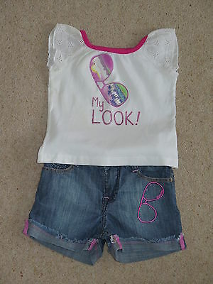 Alouette designer 2 - 3 years top, denim shorts set, immaculate, gorgeous
