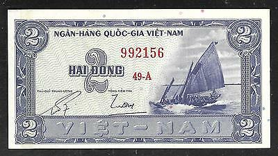 South Vietnam Paper Money - Old 2 Dong Note (1955)  P12 - XF+