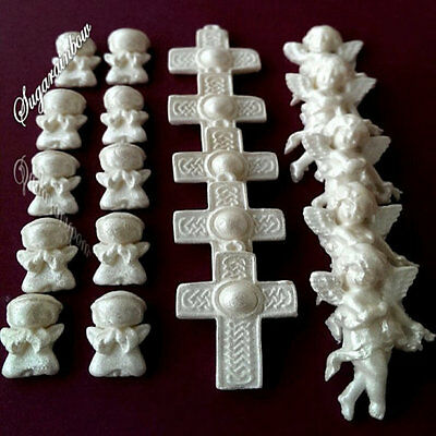 Edible Sugar Paste Angels Crosses Baby Shower Cake Cupcake Toppers Decorations
