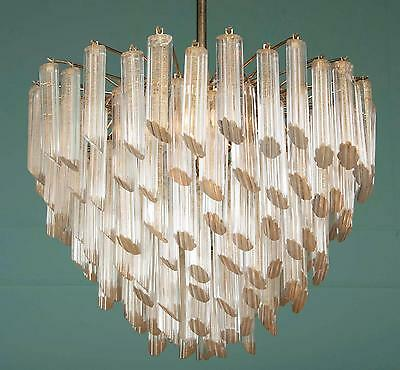 Mid Century Murano Glass Crystal Chandelier by Camer