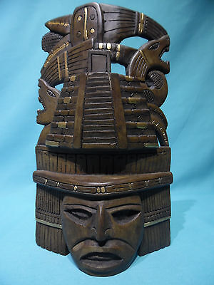 Large Mexico Mayan Aztec temple ruins jaguar snake head standing wall mask art