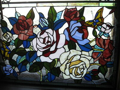 "Stained Glass Vintage Victorian Design Tiffany Style Window Panel  27"" x 18.25"""