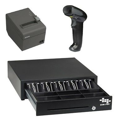 POS Hardware Bundle for SQUARE STAND - Cash Drawer, Receipt Printer, Scanner