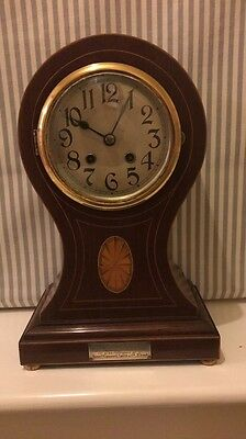 Antique Mauthe Germany 1902 Balloon Style Mantel / Mantle / Shelf Clock