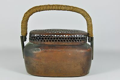 Fine Old China Chinese Copper Hand Warmer Basket Weave Top Scholar
