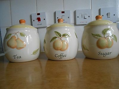 Set of 3  tea, coffee and sugar ceramic canisters