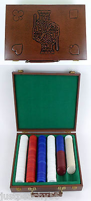 Poker Chips in Faux Leather Felt Lined Embossed Carry Case Vintage