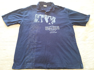 Euc Hard Rock Cafe Singapore T Shirt Size Large Blue B05