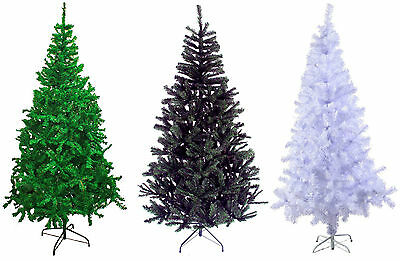 GREEN WHITE BLACK Traditional Indoor Artificial Christmas Xmas Tree2,3,4,5,6,7ft