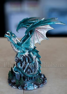 """Dragon Incense Burner Winged Guardian 9"""" Hand Painted Iridescent Blue Green WOW"""