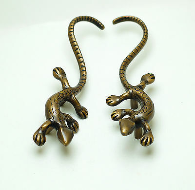 Pair or 2 pcs Vintage Big GECKO LIZARD Solid Brass Cabinet Handle KNOB Pulls