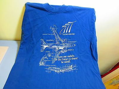 777 United Airlines Blue Print T-Shirt Fasten your Seatbelts Size XL