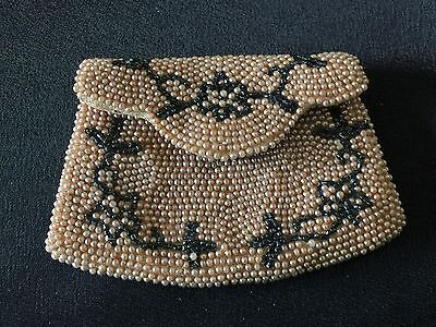 Antique / Vintage Hand Beaded Silk Coin Purse, 1930's