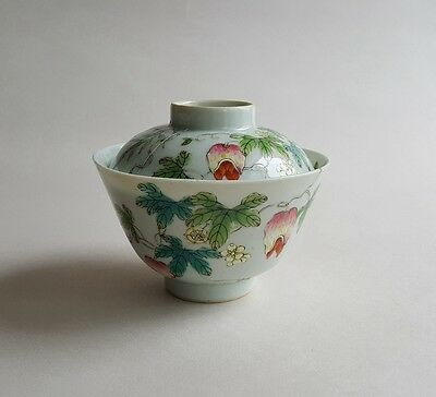 Antique Chinese Famille Rose Porcelain Cover Bowl