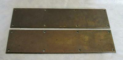2 Vintage Brass Door Push Plates, Rustic Architectural Salvage