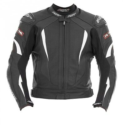 RST R-16 Leather Mens Black White Motorcycle JACKET Racing Track Clothing
