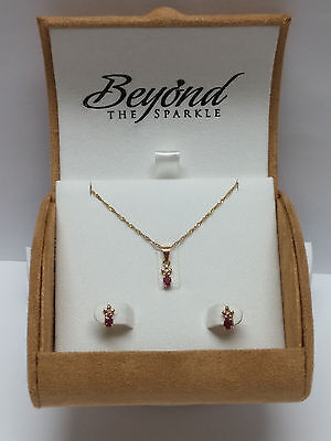 14K yellow GOLD natural RUBY & DIAMOND EARRINGS NECKLACE set DAINTY girls gift