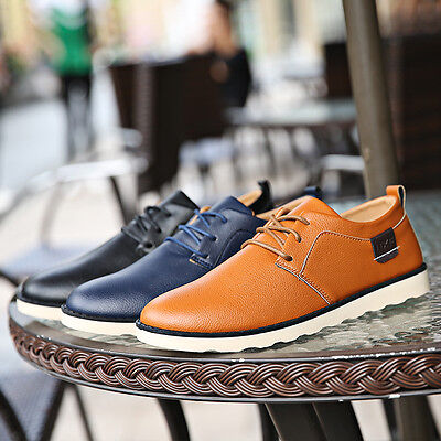 Fashion Mens Casual PU Leather Lace Up Loafers Business Driving Shoes Trainers