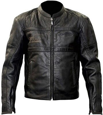 RST Retro Classic TT Motorcycle Leather JACKET Mens Black Racing Clothing