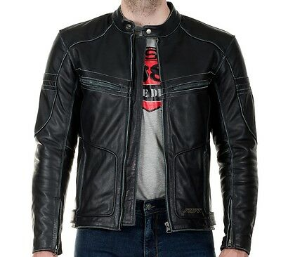 RST Roaster Classic Vintage Black Fade Motorcycle Leather JACKET Mens Clothing
