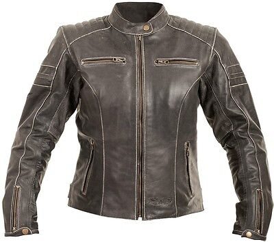 RST Roadster Classic Vintage Black Fade Motorcycle Leather JACKET Women Ladies