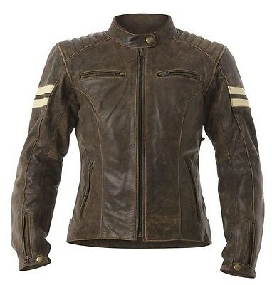 RST Roadster Classic Vintage Brown Fade Motorcycle Leather JACKET Women Ladies