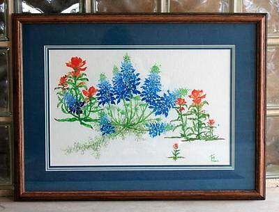 """Lot #115 Framed SIGNED Original WATERCOLOR Painting """"BLUEBONNETS""""   27"""" x 20"""""""