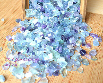 Tumbled Gemstone Natural Crystal Green Purple Fluorite Chip Stone Small Tiny 5g