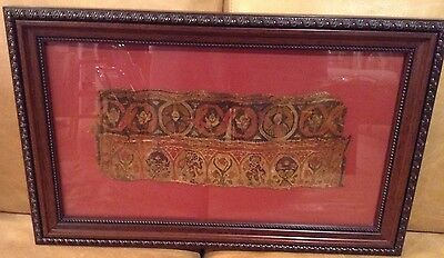 "Ancient Coptic Textile Fragment 4th 5th Century AD Pictoral 12"" x 5"" Framed"