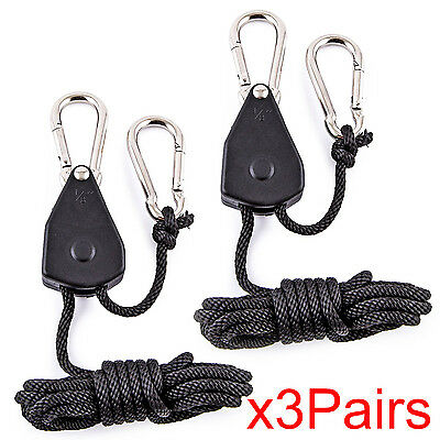 6X Rope Ratchet Adjustable Heavy Duty Hanger Light Lamp Hydro Reflector Hangers