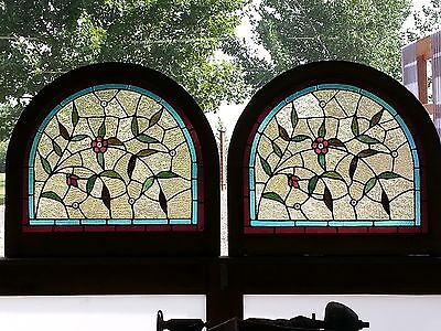 Pr. Arched Antique American Stained & Jeweled Floral Windows