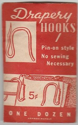 VINTAGE 1940'S DRAPERY HOOKS,PIN-ON,SEALED PACKET,E.H.TATE Co.BOSTON,RARE,MIP