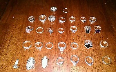 Lot of 30 sterling silver rings
