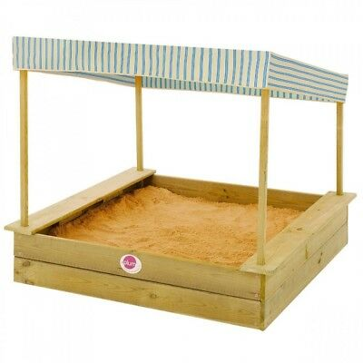 NEW Wooden Palm Beach Sandpit with Canopy | Sandbox Outdoor Sand Kids Toddler
