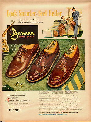 1949 vintage ad, Jarman Shoes for Men, 'Contintals, Wing Tips'- (062313)