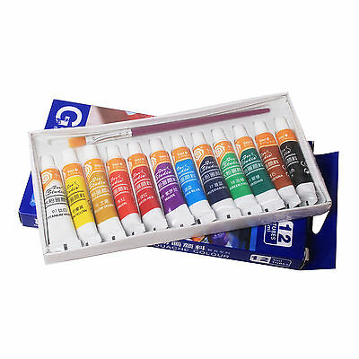 12color 5ml Paint Tube Draw Painting Acrylic Kit + Free Paint Brush SET