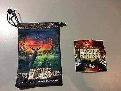2016 Electric Forest Music Festival Drawstring Pouch Bag and Sticker