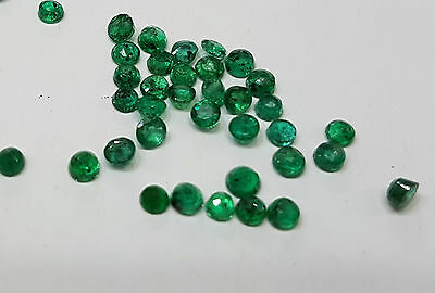 Natural Loose Dark Green Emerald Round 5mm approx. 4pc 2cts Transparent Brazil