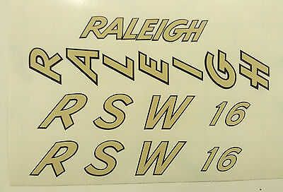 "Raleigh ""RSW 16""  bike decal/sticker set of 4"