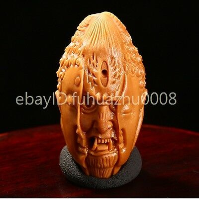 Collectable Chinese Handwork Carving Olive Devil Buddha Amulet / Phone chain