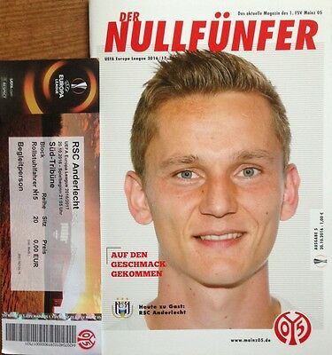 2016 MAINZ v ANDERLECHT EUROPA LEAGUE PROGRAMME + USED TICKET (WITH NAME)