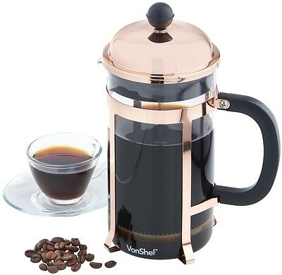 Cafetiere French Press Coffee Maker Copper Finish 1 Litre