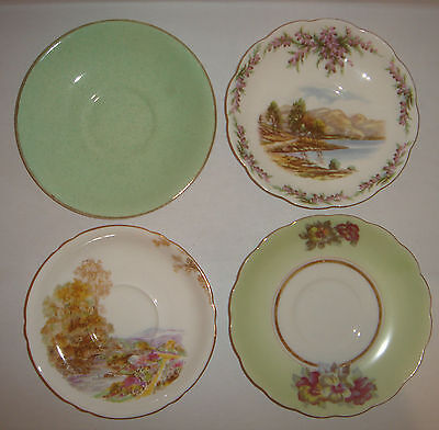 3 Vintage Bone China Saucers ROYAL ALBERT * Shelley * AYNSLEY & CO + 1 Japan