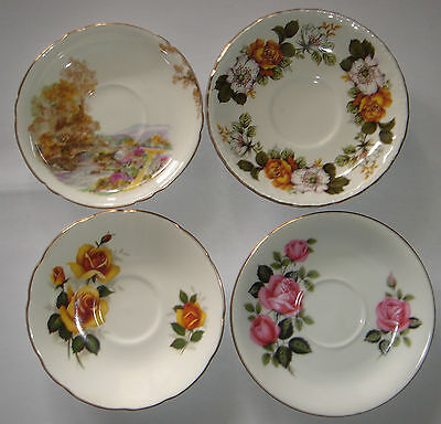 4 Vintage Bone China Saucers OLD FOLEY * Shelley * Westminster & England Floral