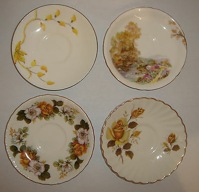 4 English Bone China Saucers OLD FOLEY * Shelley * HEATHCOTE CHINA * England