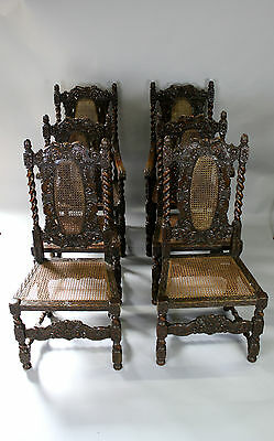 A Set Of Six Carved Oak Chairs, Two Carvers And Four Singles