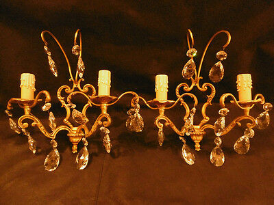 Pair Of Sconces Cage, With Tassels, Louis Xv Style - Bronze - French Antique