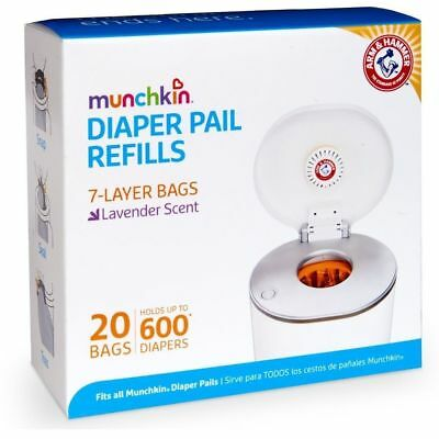 Arm & Hammer Nappy Refills 20 Pack Diaper Pail Refill Bags (fits ALL Munchkin)